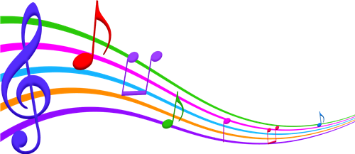 Edison e fun links. Colorful music notes on a staff png svg free stock