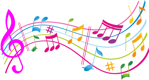 Colorful music notes design