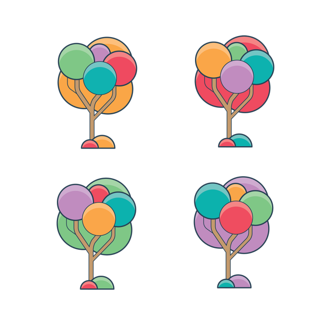 Colorful vector. Trees collection pack png