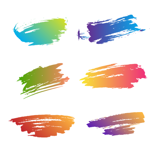 Colorful vector brush stroke. Ink brushes collection png