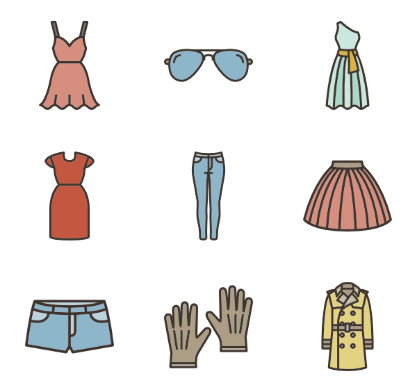 Colorful vector fashion. Clothes icons free linear