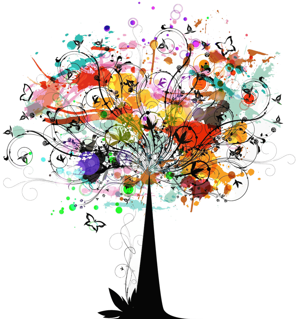 Colorful vector tree. Girl s net about