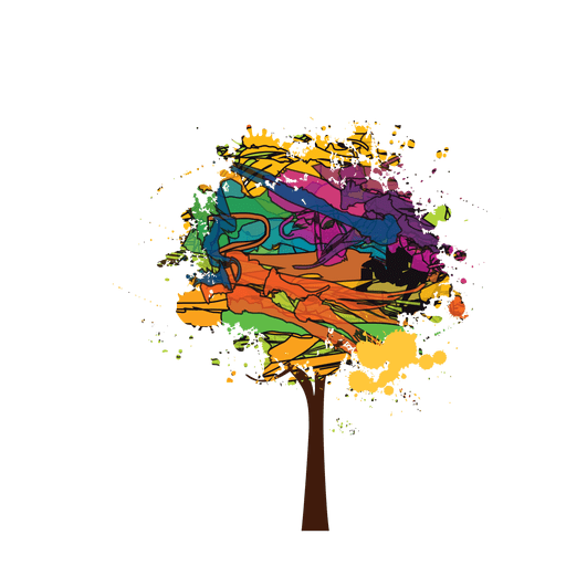 Colorful vector tree. Brush paint transparent png