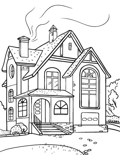White House Coloring Printout - EnchantedLearning.com | 507x392