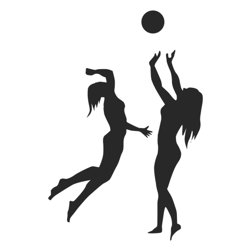 Colors clipart volleyball player. Female players silhouette transparent