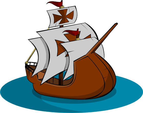 Columbus clipart sailing ship. Pencil and in color