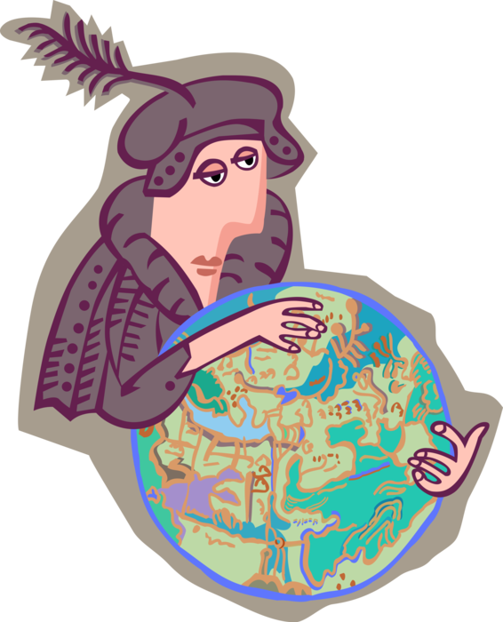 Columbus clipart vector. Christopher with globe image