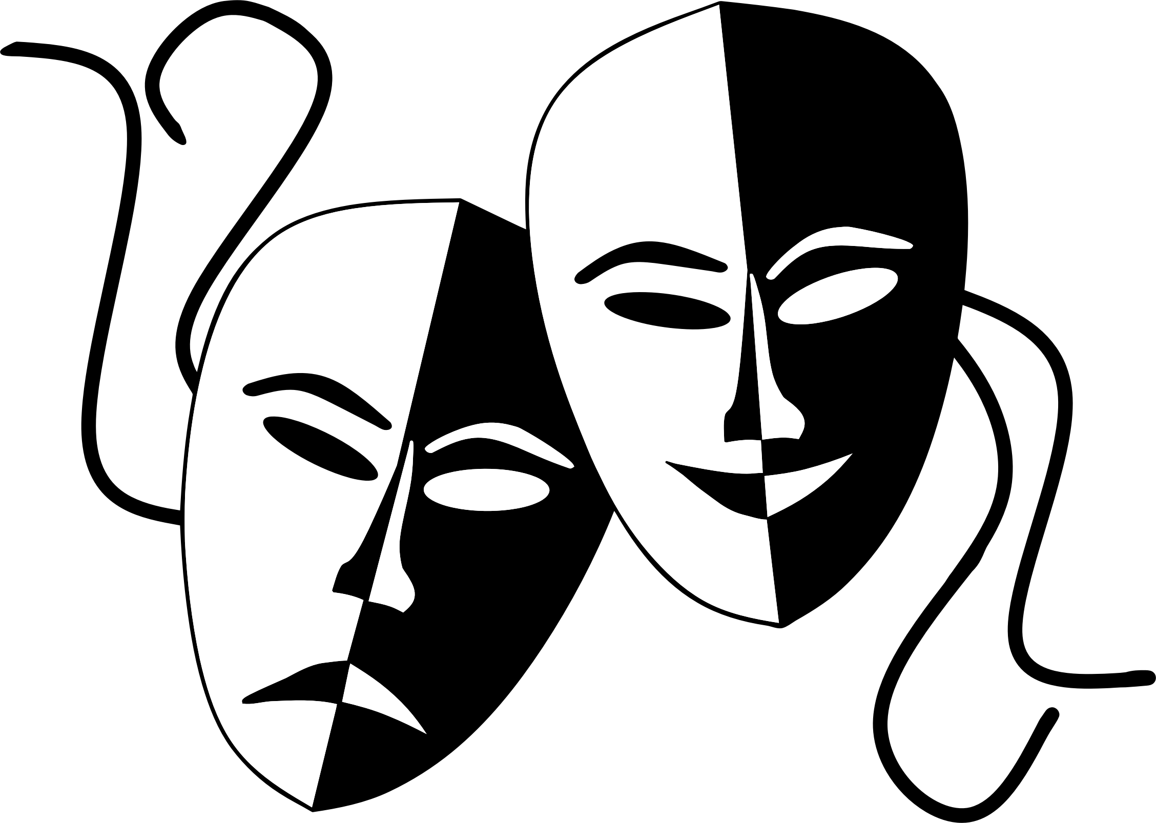 Tragedy and comedy theater. Drama mask png png black and white library