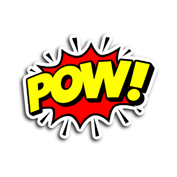 Comic book pow png. Speech balloon stickers witty