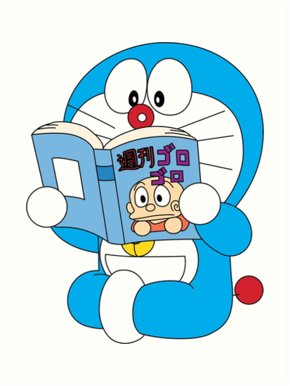 Comic clipart read comic. Doraemon book art prints