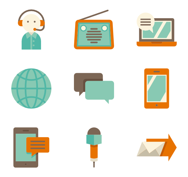 Communication vector. Telephone icons free color