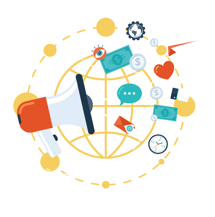 Communication vector advertising agency. Small business company flat