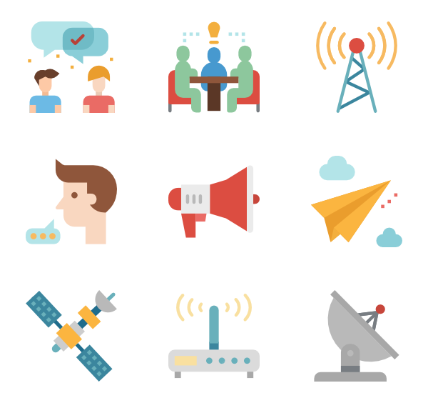 Communication vector word. Broadcast icons free