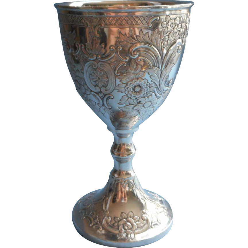 Communion cup png. Vintage ornate silver chalice