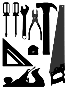 Carpenter vector silhouette. Basic tools silhouettes by