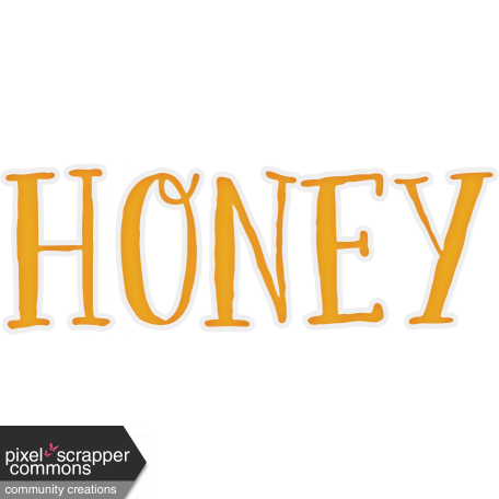 Community transparent word. Honey art graphic by