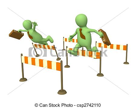 D businessmans puppets jumping. Competition clipart picture royalty free stock