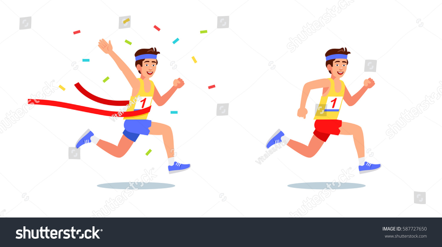 Male runner won on. Competition clipart banner royalty free download