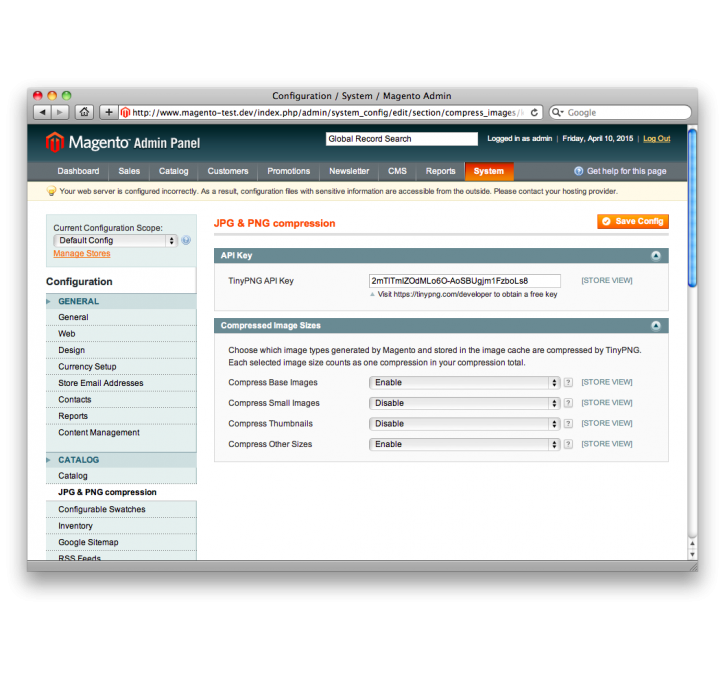 Compress jpeg & png images. Magento extension by tinypng