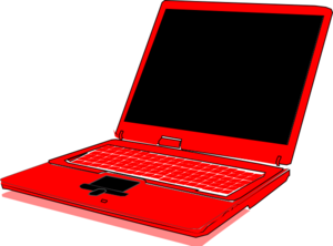 Computer clip laptop. Red art at clker