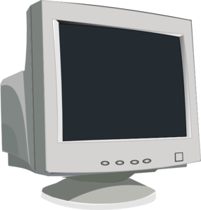 Computer clip monitor. White art at clker