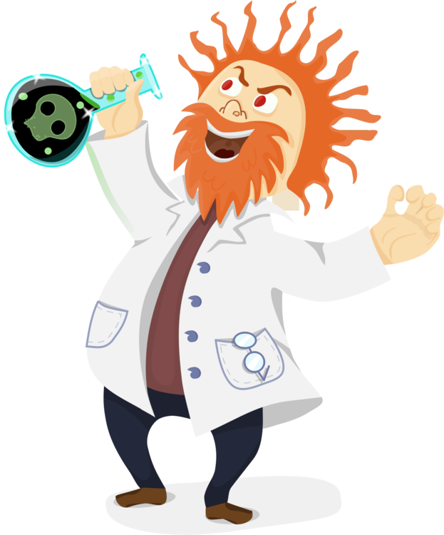Computer clip science. Mad scientist research icons
