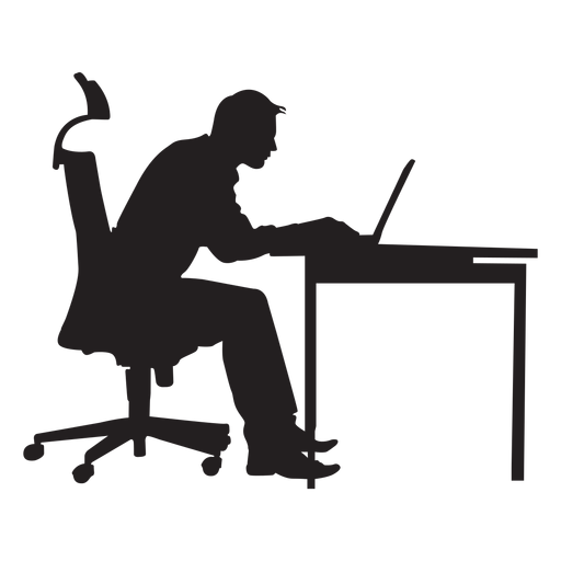 Computer silhouette png. Man sitting at desk