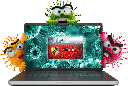 virus transparent computer logo