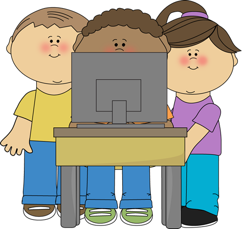 Computers clipart child. Kids using a school