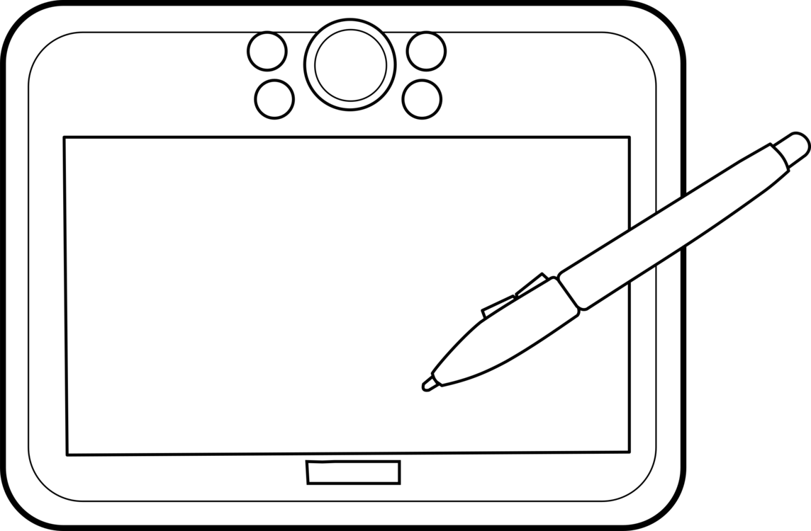 Computers drawing line art. Tablet digital writing graphics