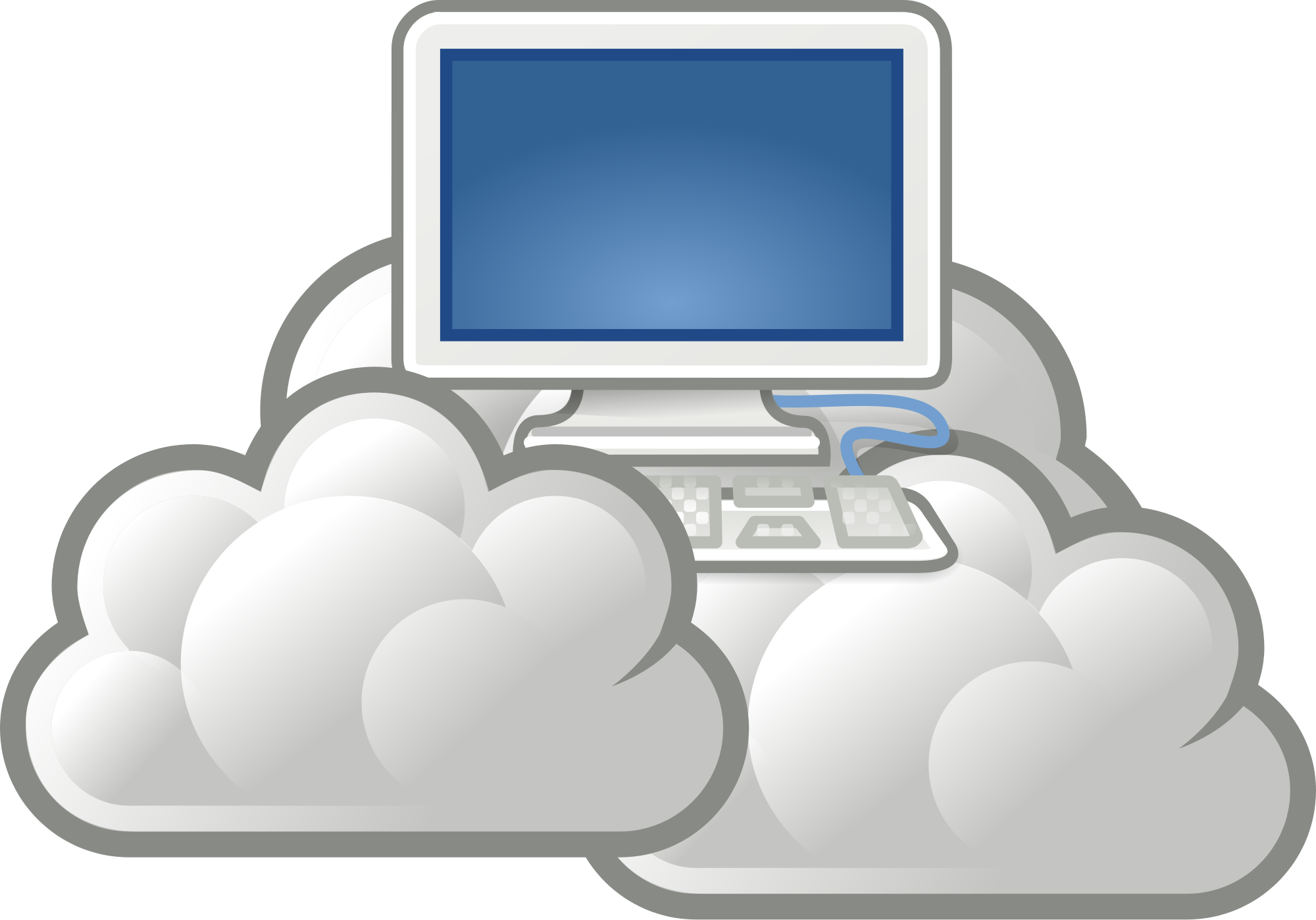 Computers drawing cloud computing. How does work academy