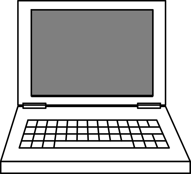 Clipart laptop medium image. Computers drawing simple banner black and white download