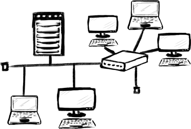 Computers drawing sketch. Networking umptech