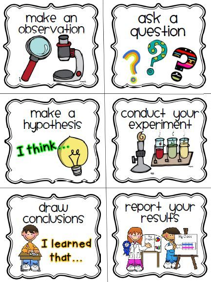 Scientific method cards pinterest. Conclusion clipart observation banner black and white library