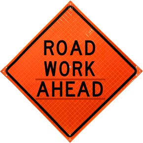 Roadsign vector construction. Roll up road work
