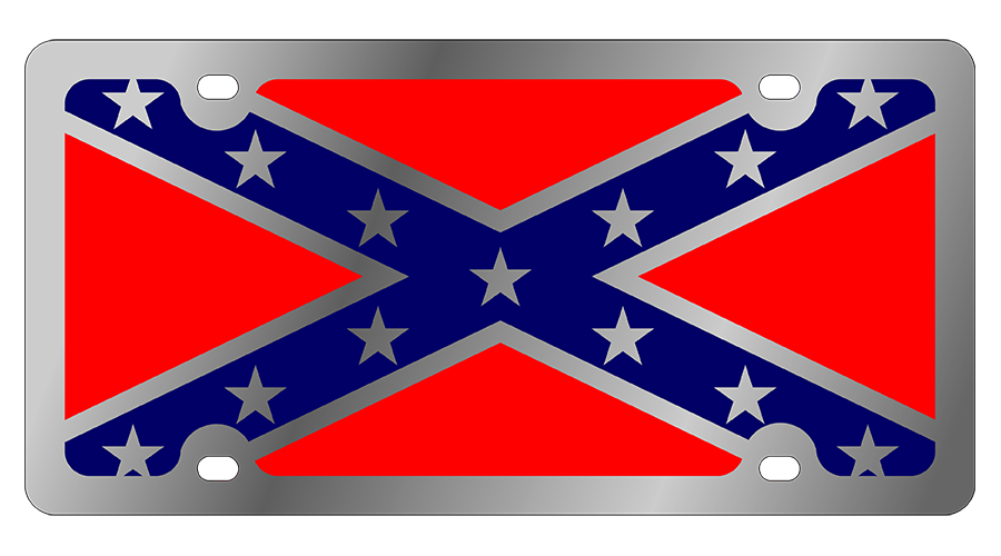 Confederate flag png. Rebel license plate stainless