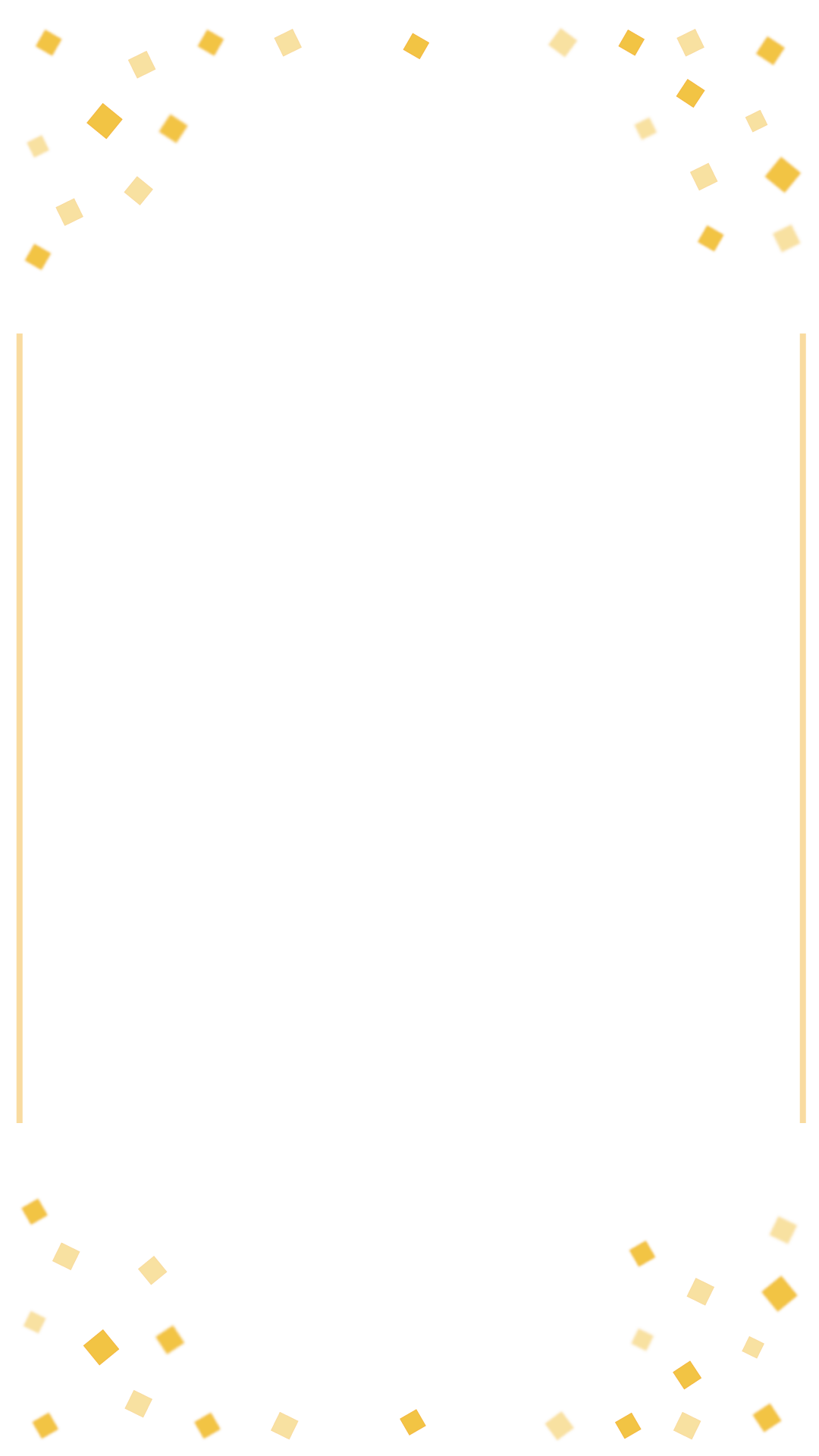 Confetti border png. Gold birthday snapchat filter