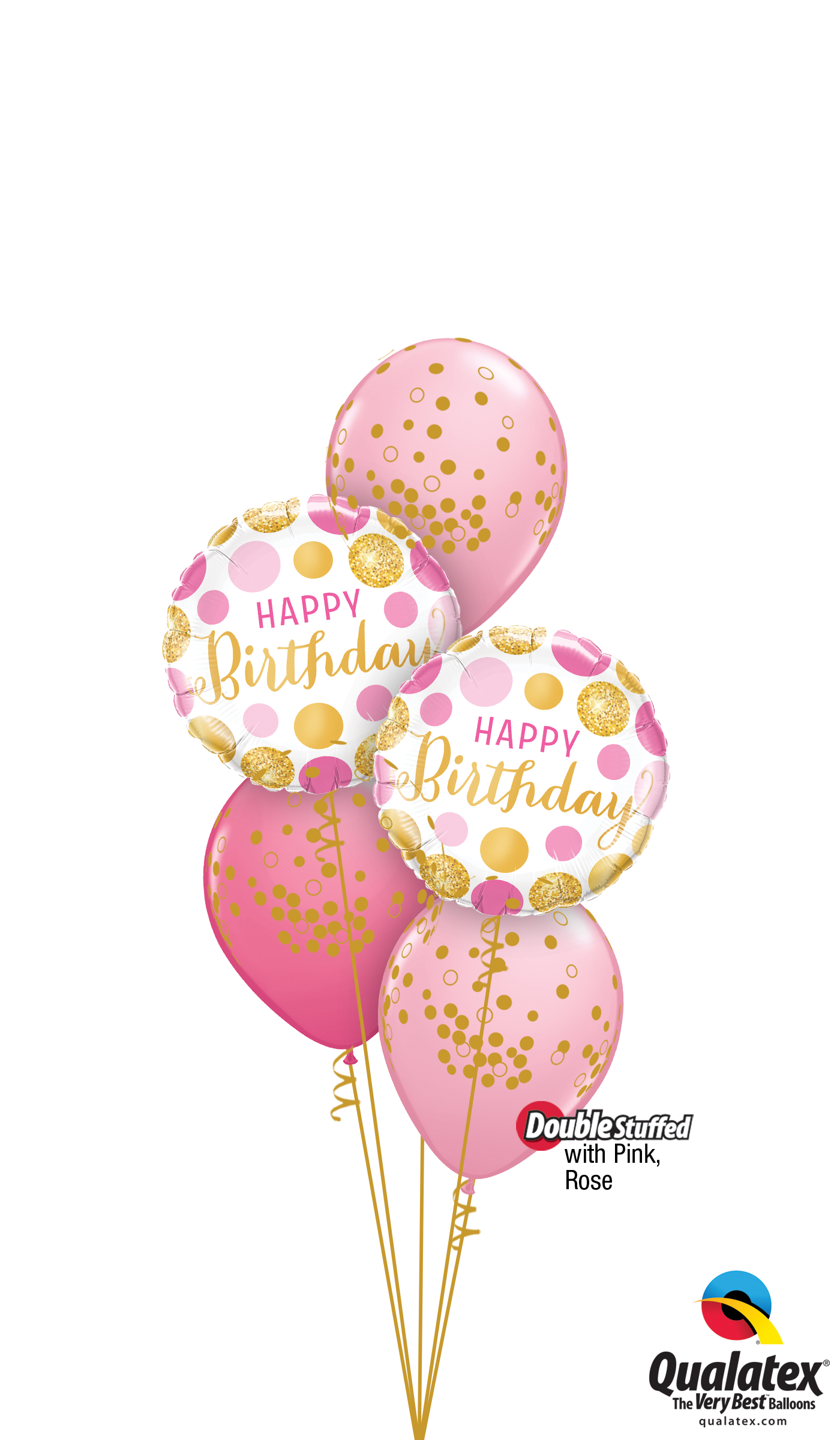 Pink and gold confetti png. Dots birthday balloon bouquet