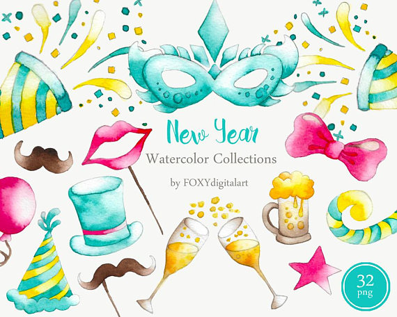Confetti clipart noise maker. New year countdown champagne