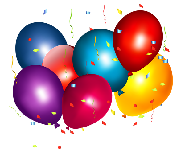 Confetti drawing balloon. Colorful balloons with png
