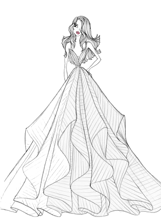 Confidence drawing evening gown. Fresh lively and confident