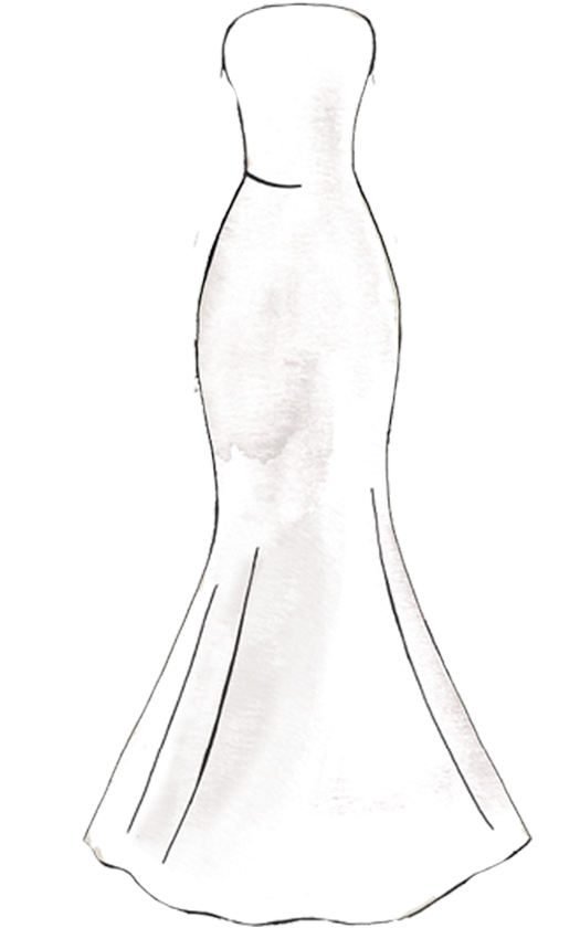 Confidence drawing evening gown. Mermaid silhouette sketch wedding