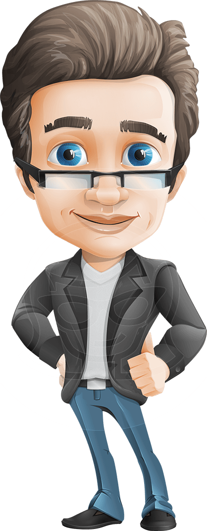 Male vector person. Business man cartoon character