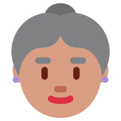Confused old lady png. Woman medium skin ton