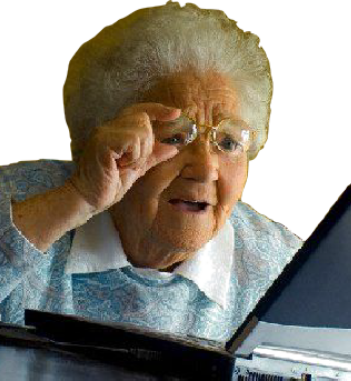 Confused senior citizen png. Computers for elderly users