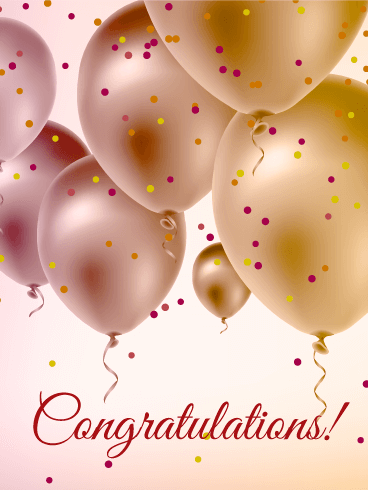 Congratulations clipart thinking. Pearl color balloons card