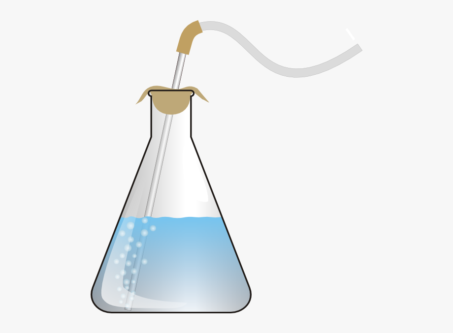 Conical lemon. Science clipart flask with