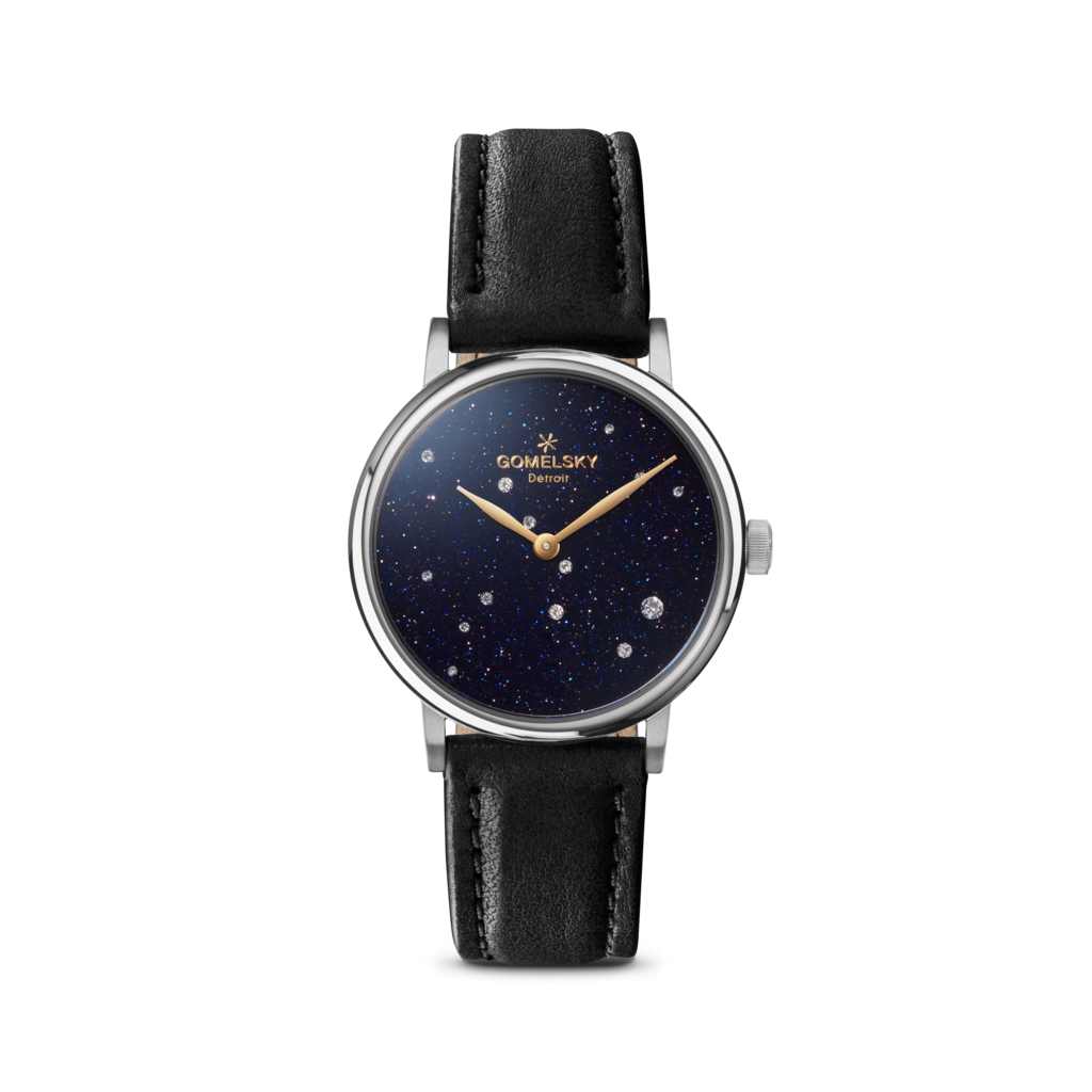 Constellation transparent starry. Agnes watch with black