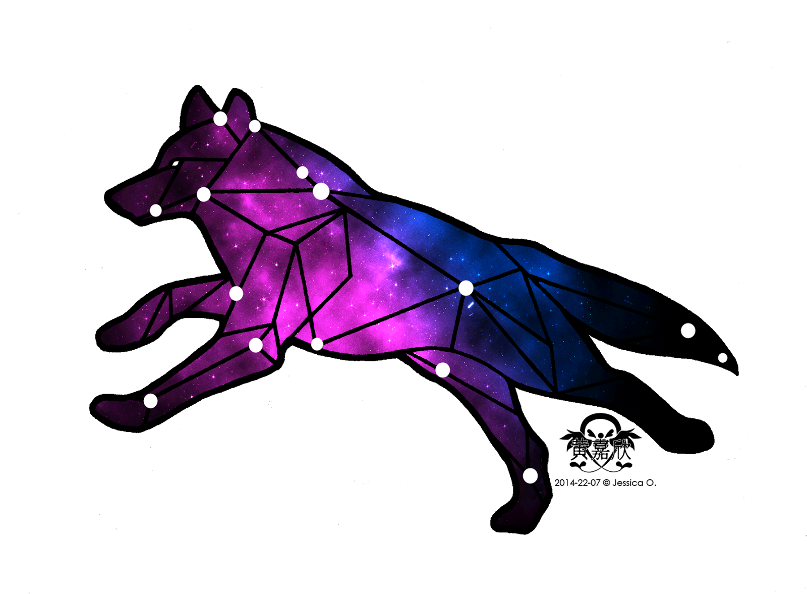 Constellations drawing wolf. Jwo designs july black