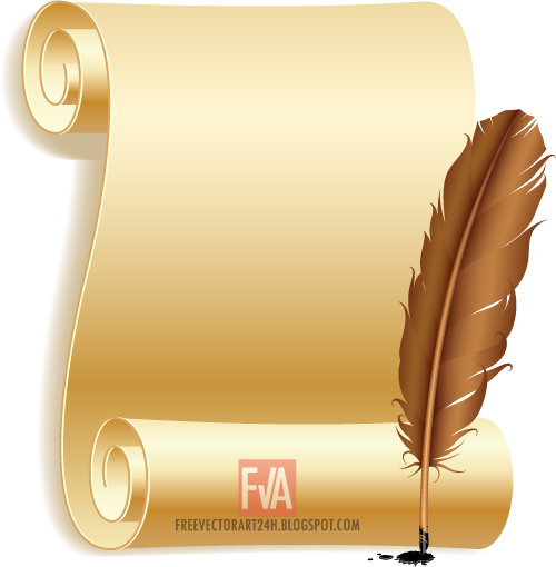 Constitution vector old paper design. Scroll and feather graphics